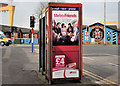 J3574 : Telephone boxes, Ballymacarrett, Belfast by Albert Bridge