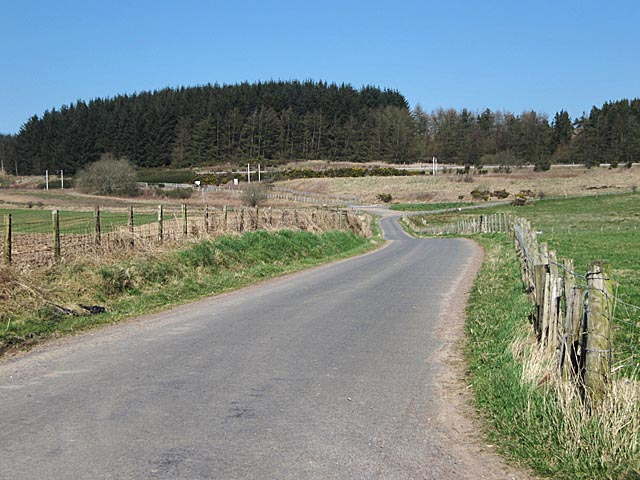 Rural road at Castlehill farm near Cartland