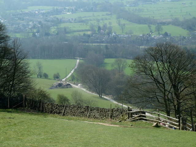 Downhill view, lower slopes of Win Hill
