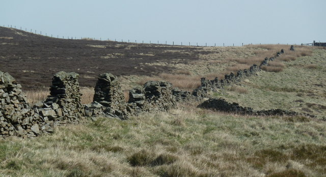 Old wall on the upper slopes of Win Hill
