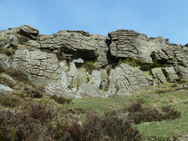 Rock formation by the summit of Win Hill