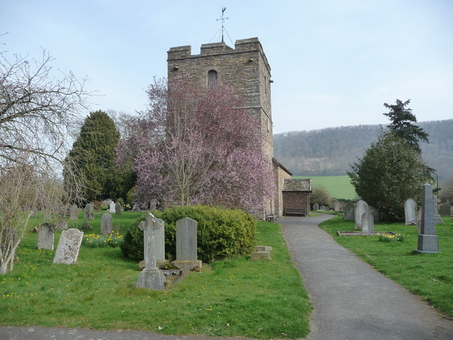 Part of the churchyard at Stokesay in spring