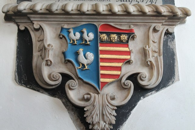 Crest on Memorial to Daniel de Ligne, Harlaxton church