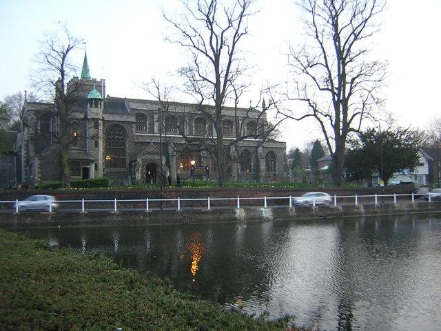 Carshalton church and pond