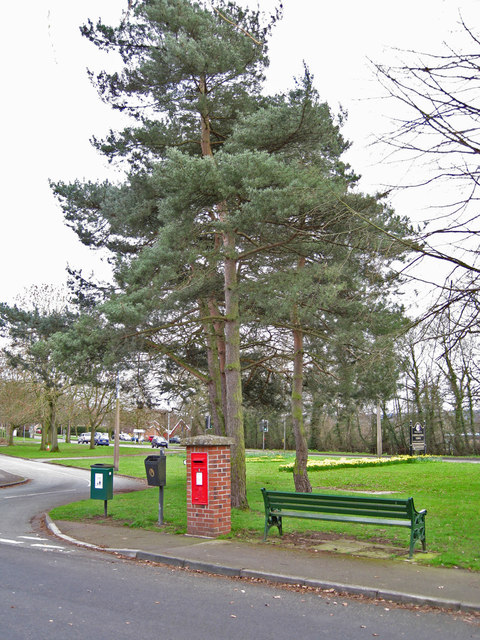 Street furniture and post box, West Heath