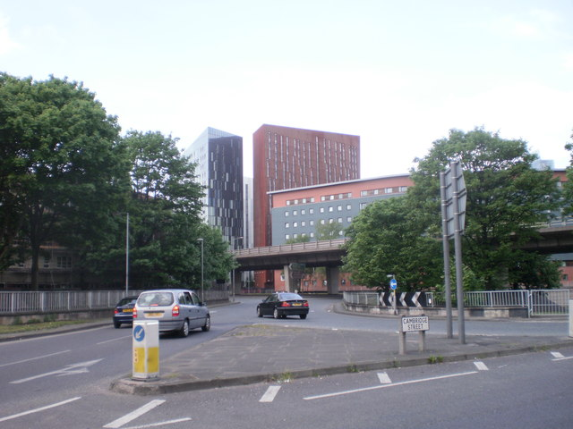 Junction of Cambridge Street with Mancunian Way, Manchester