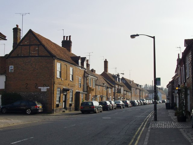 Whielden Street, Old Amersham: the view south-west, out of town