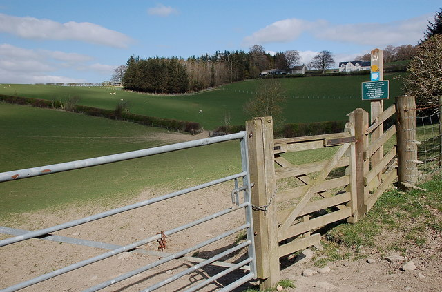 Gate and path below Shawmount, Borders Abbeys Way