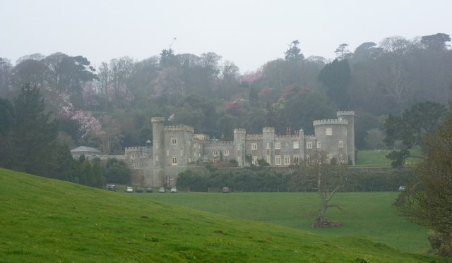 Caerhays Castle on a damp spring day