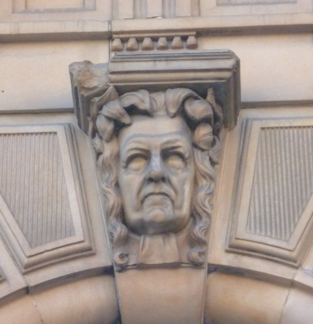 Sculpted head, West George Street