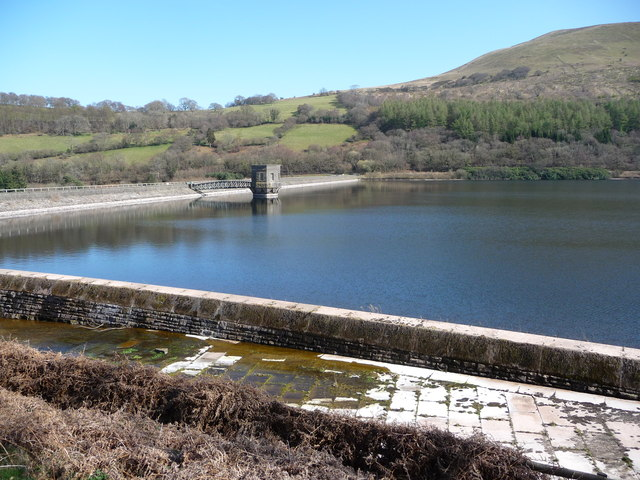 Part of Talybont Reservoir dam wall