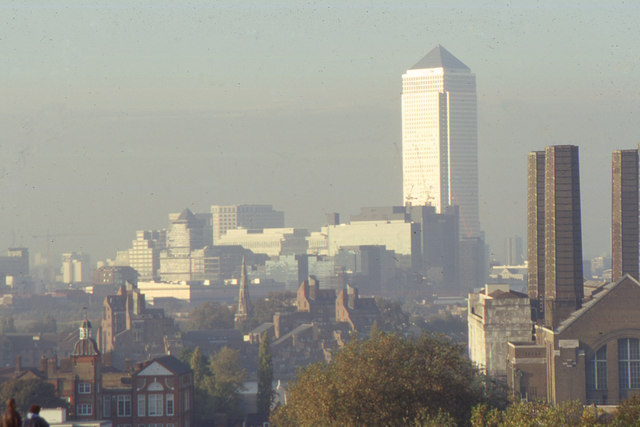 Canary Wharf from Greenwich Park, 1997: telephoto shot