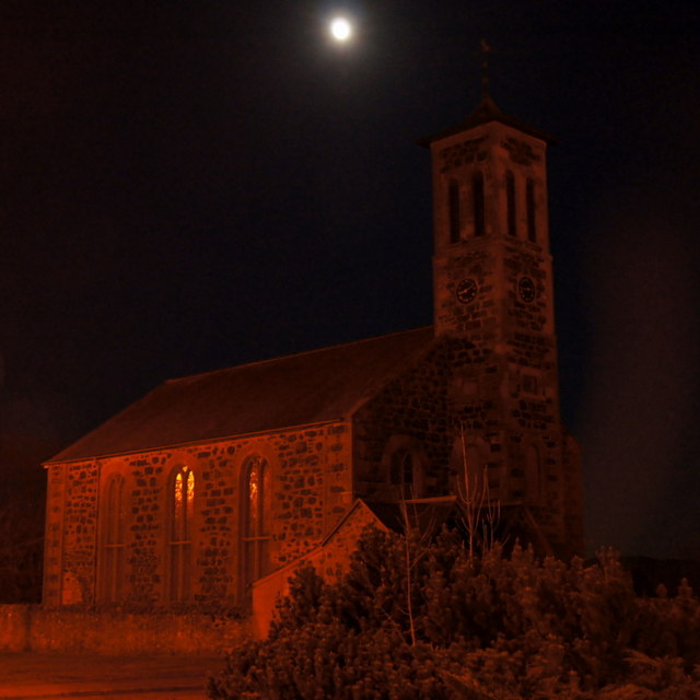 The moon above Rattray Parish Church