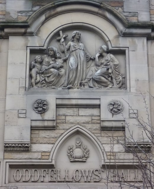 Sculpture on Oddfellows Hall, Forrest Road