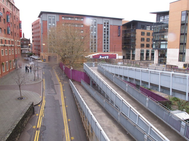 Hotels with ramp footway to elevated tramway, Sheffield