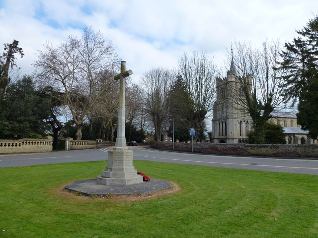 War memorial and church in Elm near Wisbech