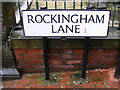 SK3587 : Rockingham Lane sign by Adrian Cable