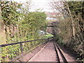 NY3856 : The steps down to go under a disused railway bridge by Ian S