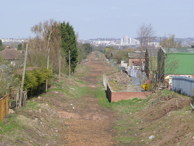The railway embankment exposed
