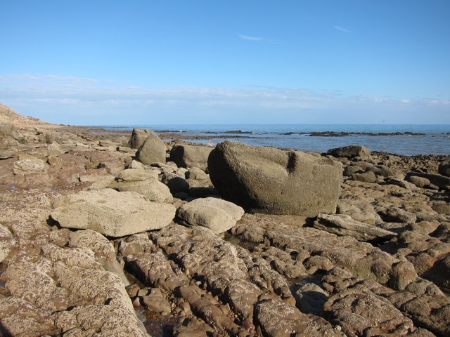 Rocky beach below East Hill