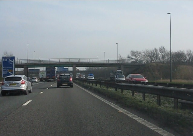 M6 motorway - footbridge north of Croft Interchange