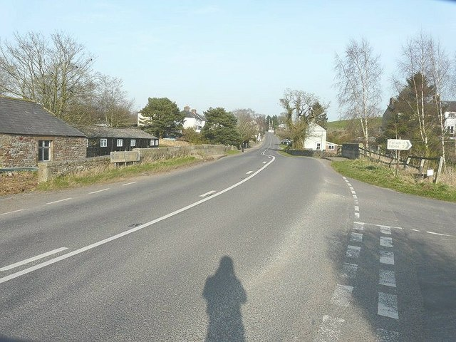 The A689 road through Milton