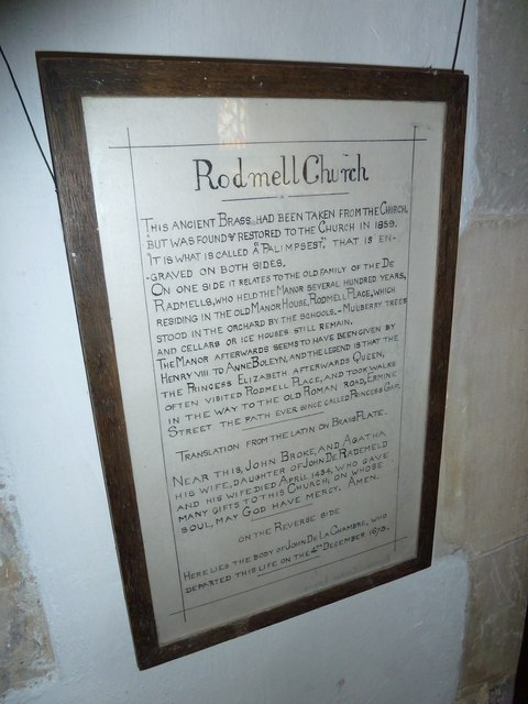 St Peter, Rodmell: information board