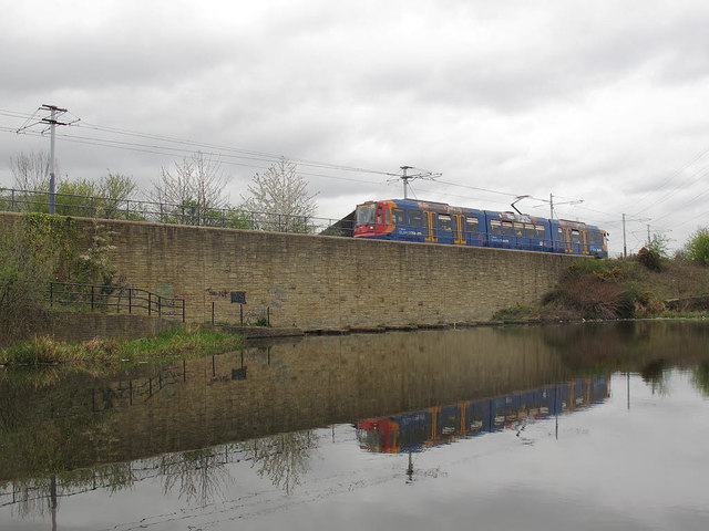 Tram alongside the canal at Attercliffe