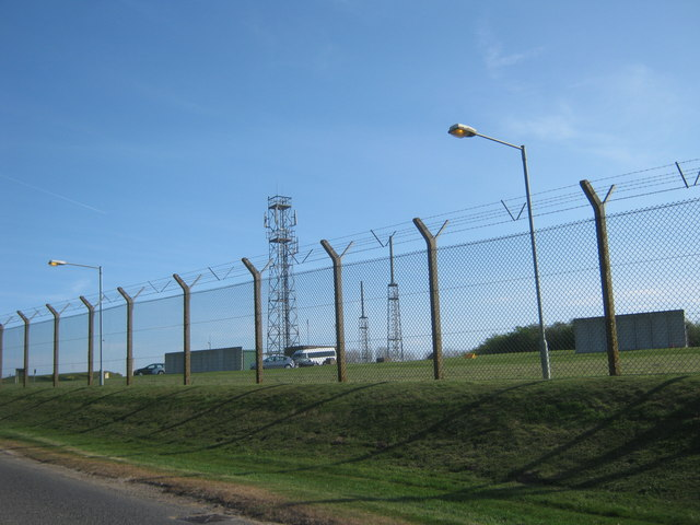 Perimeter fencing for RAF Boulmer next to the B1339