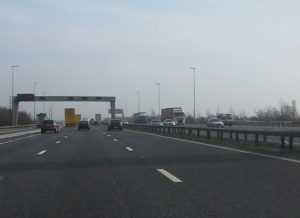 M6 motorway - southbound M62 slip roads join