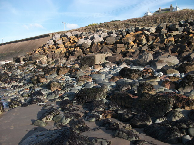 Stone and concrete sea defences