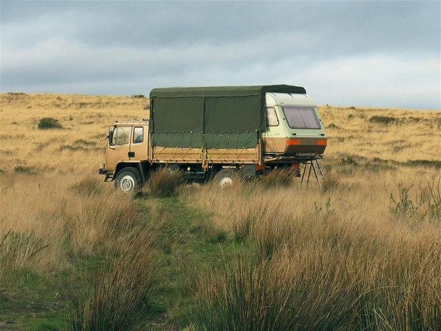 Off-road caravan on Mynydd Gellionnen