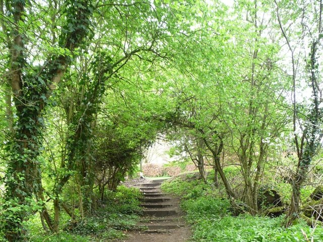 Footpath steps up to Linton Lane