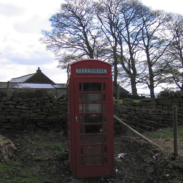 Phone box at Stacey Bank