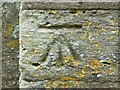 SP1106 : Bench mark, Church of St Mary, Church Road, Bibury, Gloucestershire by Brian Robert Marshall