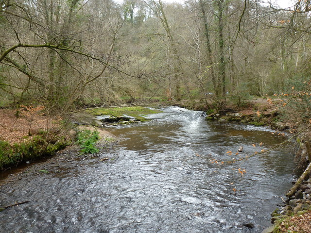 Weir on the River Bovey, Parke Estate, near Bovey Tracey