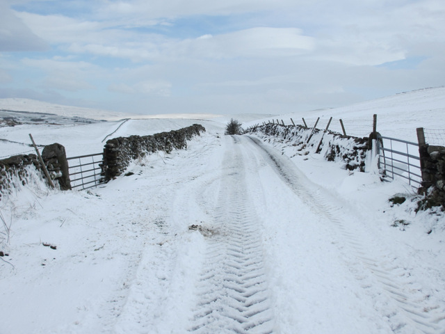 The lane to High Birkwith in the snow