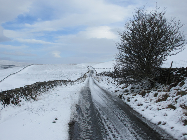 The road to High Birkwith in the snow