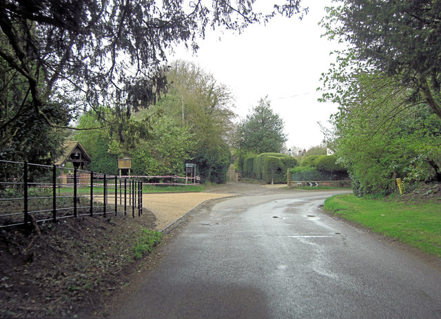 Pyrton Lane beside the entrance to the church