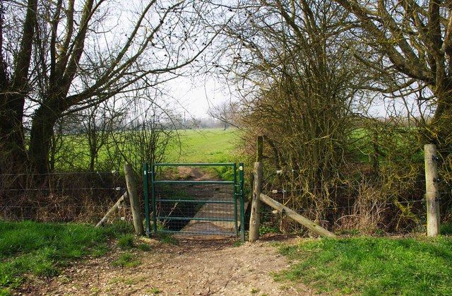 Gate and footbridge on Seven Stiles Stroll, near Lechlade on Thames