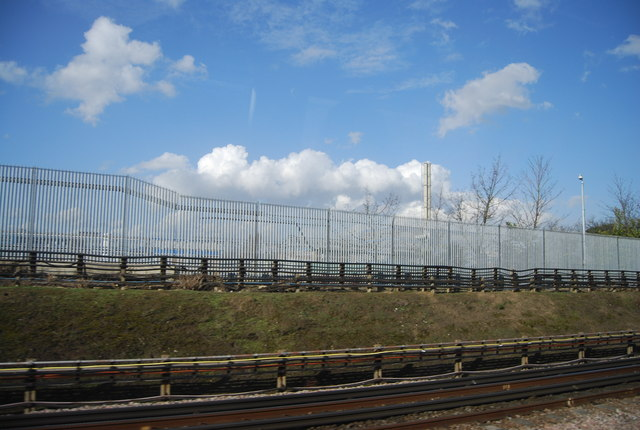 Works border fence by the District Line