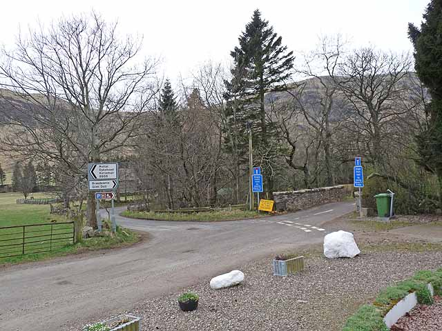 Road junction at Clova