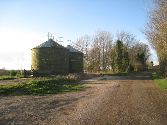 Grain silos and farm track
