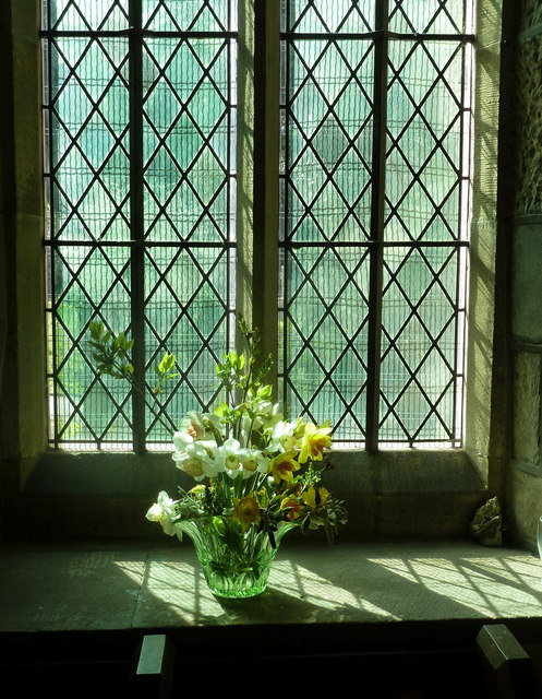 Window and flowers, Bonsall Church