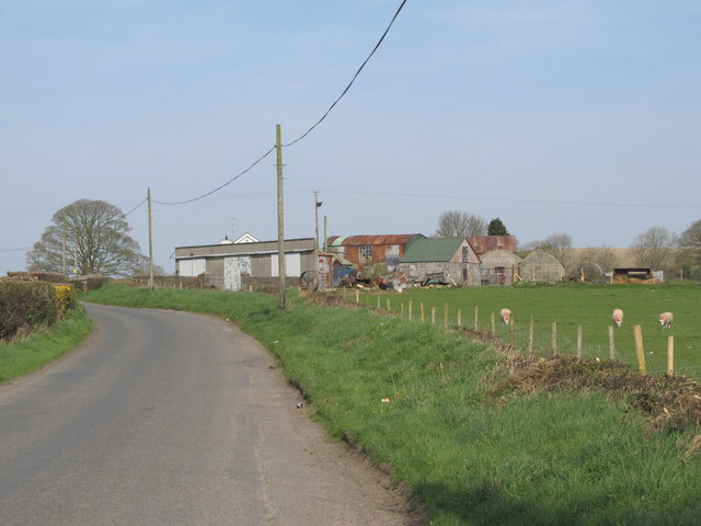 Tin-roofed farmsheds just south of the Curley Road Cross Roads