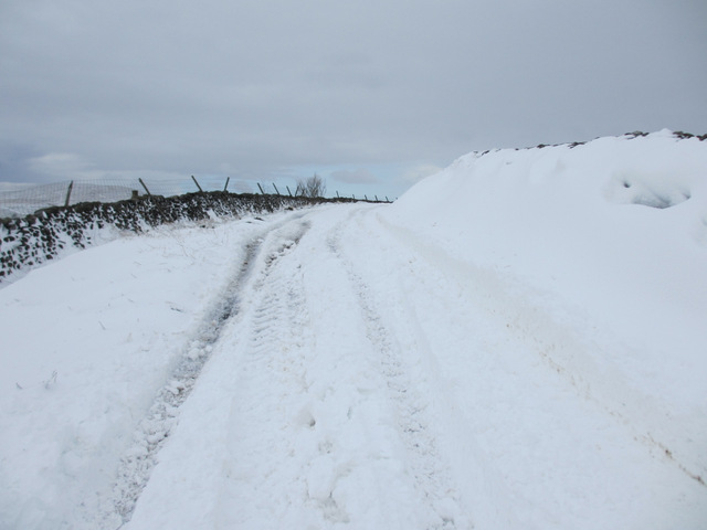 Deeper snow on the lane to High Birkwiith
