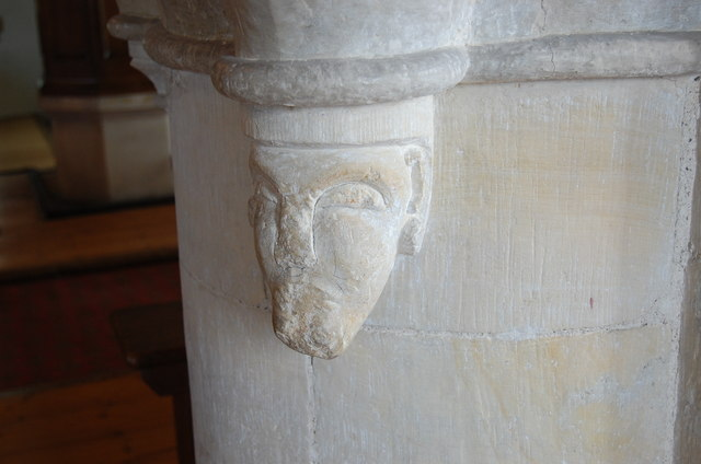 Carved Head, St Andrew's church, Beddingham