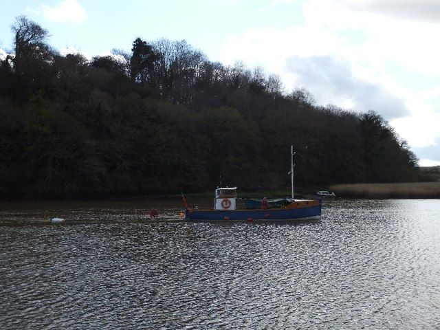 Small boat on the River Tamar at Cotehele Quay