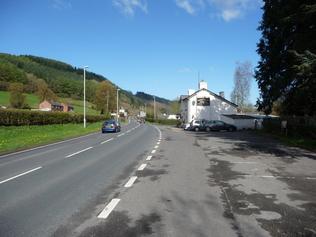 Part of the A470 road at Llyswen