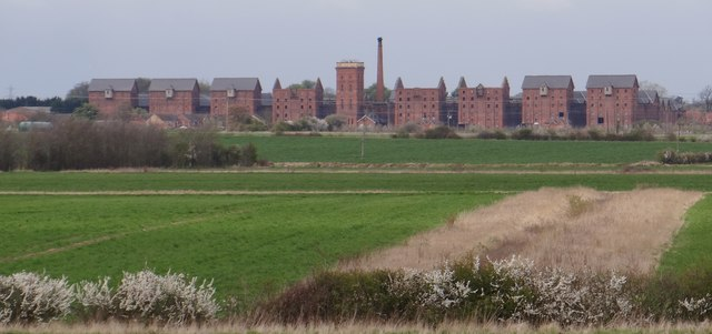 Fields at Willoughby Gorse, featuring the Bass Maltings